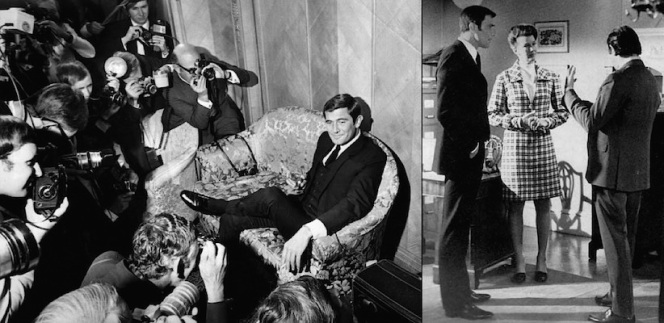 Lazenby sports black patent leather derbies both at his October 1968 press conference (left) and when taking direction on set in March 1969 with Lois Maxwell (right).