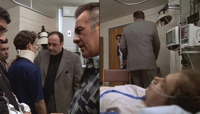 Tony's crew conducts an impromptu hospital huddle at the dying Jackie Aprile's bedside.