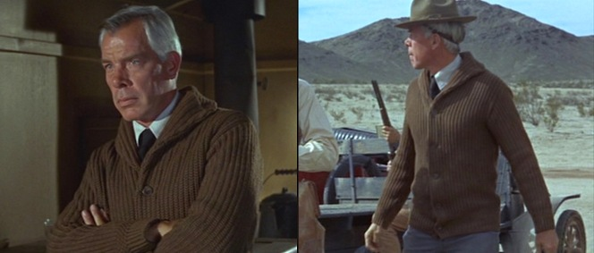 Rico's heavy sweater isn't the first item you'd pack for a trip to the Texas desert, but Lee Marvin wears it well.