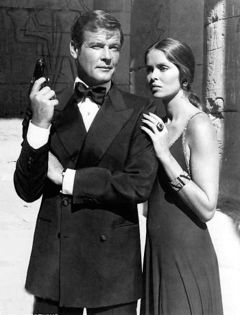 Roger Moore as James Bond with Barbara Bach in The Spy Who Loved Me (1977)