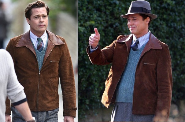 Behind-the-scenes shots of Brad Pitt wearing Max's varied striped ties with his dressed-down weekender outfit.