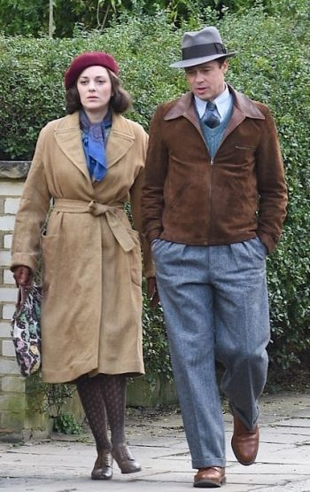 Marion Cottilard and Brad Pitt filming Allied (2016)