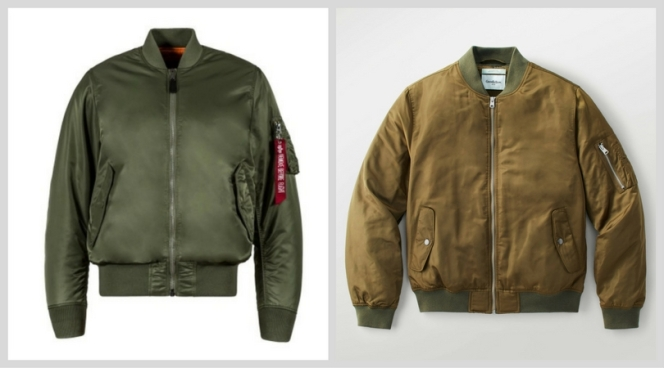 Left: Alpha Industries MA-1 RIght: Goodfellow & Co. Insulated Bomber (from Target)