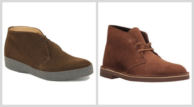 Left: Sanders & Sanders Hi-Top chukka boots in snuff suede Right: Clarks Original Bushacre 2 desert boots in walnut suede