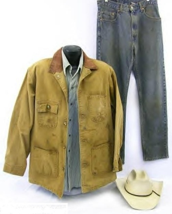 Screen-worn Carhartt jacket, snap shirt, Levi's jeans, and hat as featured at YourProps.com.