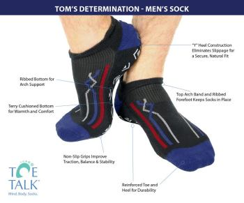 "Explore the ""sockology"" of Toe Talk's new grip socks for men."