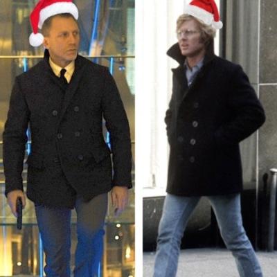Left: Daniel Craig wears a Billy Reid peacoat in Skyfall. Right: Robert Redford in Three Days of the Condor.