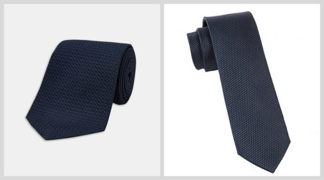 """Left: Turnbull & Asser Right: The Tie Bar's """"grenafaux"""" tie"""