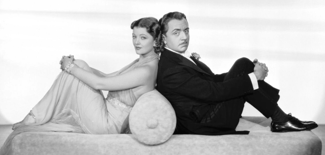 Promotional photo of Myrna Loy and William Powell for After the Thin Man (1936).