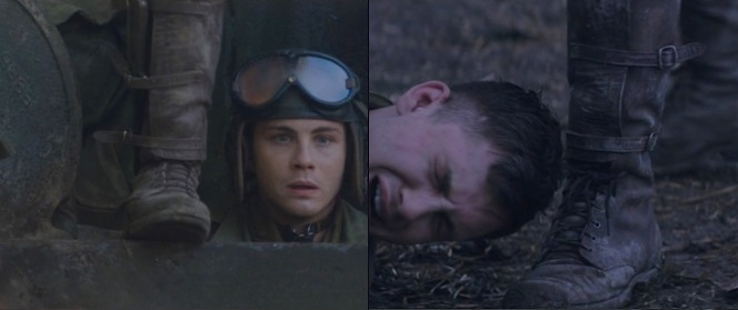 Norman Ellison (Logan Lerman) spends more time than one would expect in close proximity to Wardaddy's boots.