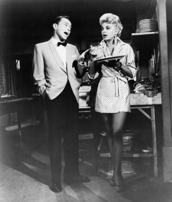 Production photo of co-stars Frank Sinatra and Barbara Nichols in Pal Joey (1957)