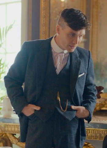 Cillian Murphy as Tommy Shelby on Peaky Blinders, episode 2.