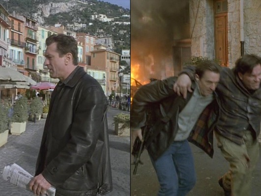 There are several ways to experience the French Riviera... the more traditional tourism or the considerably less traditional post-heist car chase and gunfight. (Check out the plaid lining inside Sam's jacket.)