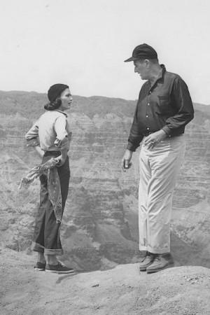 Elizabeth Allen and John Wayne on location.
