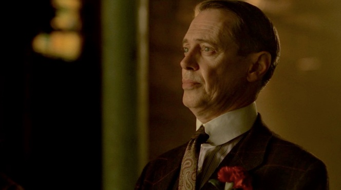 """""""To the Lost"""" (Episode 2.12): Nucky's trusty charcoal brown windowpane suit makes its final appearance."""