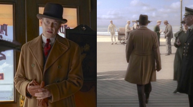 A warm double-breasted coat is just the thing for combating the frigid winter air on the Atlantic City boardwalk.