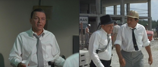 Left: A uniquely sized breast pocket adorns all of Tony Rome's white shirts. Right: The breeze picks up Tony's tie at the construction site, giving eagle-eyed viewers a glimpse at the manufacturer's white label. Any ideas?
