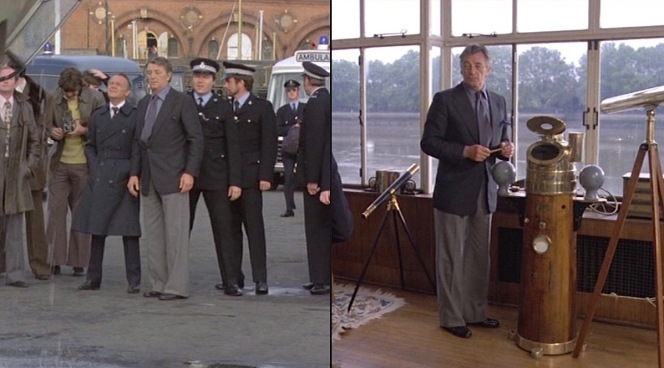The bell-bottomed trousers take an outfit that would have worked three decades earlier in Bogie's day and plunge it headfirst into the 1970s.