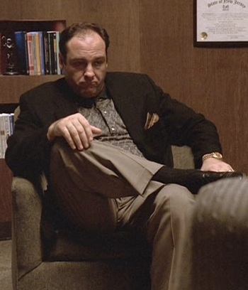 "James Gandolfini as Tony Soprano in The Sopranos episode ""Meadowlands"" (Episode 1.04)"