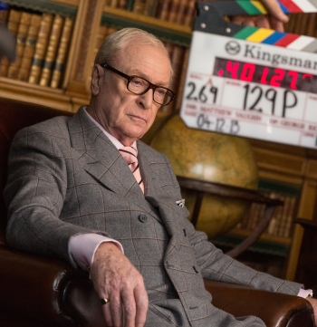 Michael Caine on set while filming Kingsman: The Secret Service (2014)