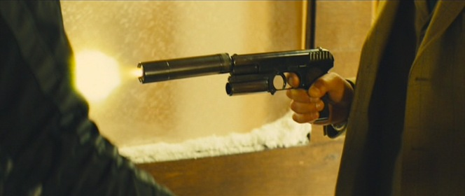 Cohort Film Services also designed the custom suppressors that agents like Lancelot here fit on their pistols.