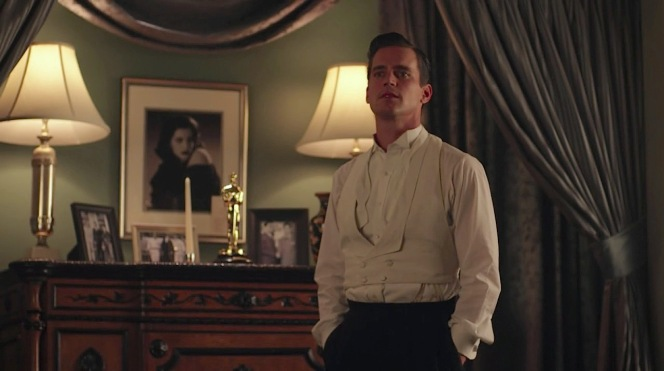 With his tailcoat removed, his tie undone, and - lest we forget - his boss furious at him, Monroe Stahr has more to worry about than the length of his waistcoat.