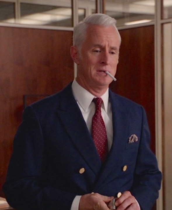 official photos edc78 69b68 Mad Men, Season 7  Roger Sterling s Navy Blazer   BAMF Style