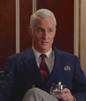 "John Slattery as Roger Sterling on Mad Men. (Episode 7.04: ""The Monolith"")"