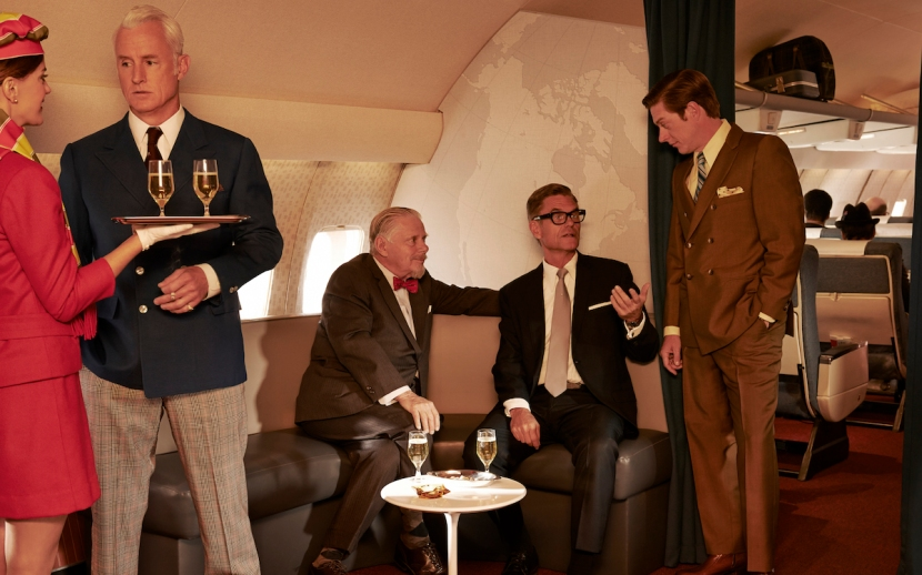 John Slattery, Robert Morse, Harry Hamlin, and Kevin Rahm in promotional photo for Mad Men, season 7, part 1.