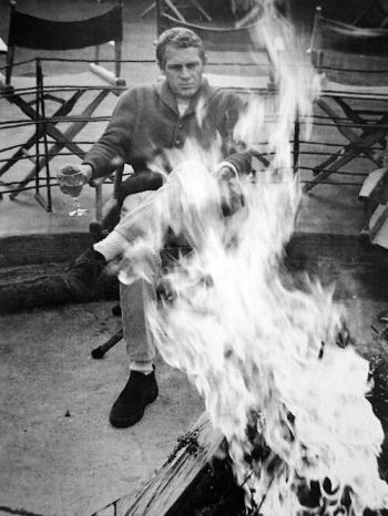 Playboy boots for a playboy lifestyle. Steve McQueen at Big Sur, 1964. (Photograph by William Claxton)