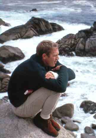 Steve McQueen at Carmel, California, photographed by William Claxton (1964).