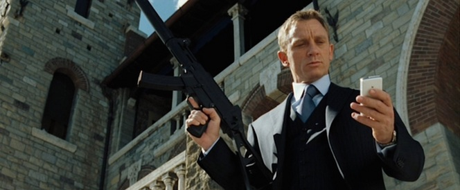 "Bond stands over Mr. White with Vesper's ""crystal white"" Sony Ericsson M600i cell phone... a ""smoking gun"" in each hand, if you will."