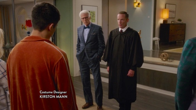 "This screenshot from the beginning of ""Michael's Gambit"" (episode 1.13) also includes Kirston Mann's costume designer credit."