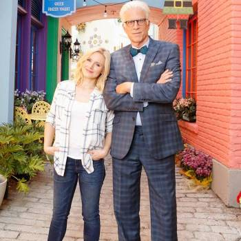 """Ted Danson and Kristen Bell on the set of The Good Place. Danson wore the Brackish """"Midnight"""" bow tie with this suit during the final episodes of the first season."""