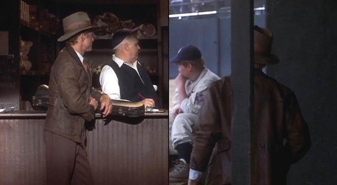 Roy Hobbs picks out a #9 jersey (left) after leaving a still-fuming Pop in the dugout (right). Spot the adjustable button-tabs on the sides of his jacket.