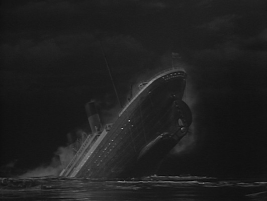 The doomed ship's final moments reveal a few technical errors; the ship's lights appear to remain on through the portholes a few minutes after losing power, and the port of registry on the stern is incorrectly depicted as Southampton rather than Liverpool. While Titanic did indeed depart from Southampton on her maiden voyage, both Titanic and her sister ship Olympic were registered to White Star Line's home port in Liverpool.