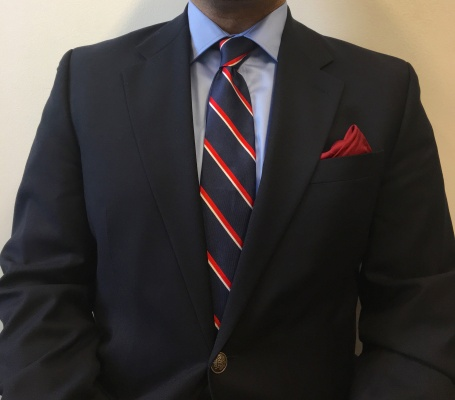 Navy wool blazer and light blue cotton shirt: Michael Kors Tie: Tommy Hilfiger