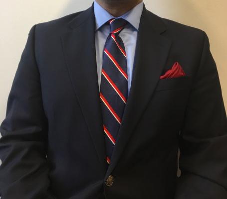 Navy wool blazer and light blue cotton shirt: Michael Kors Tie: Tommy Hilfiger