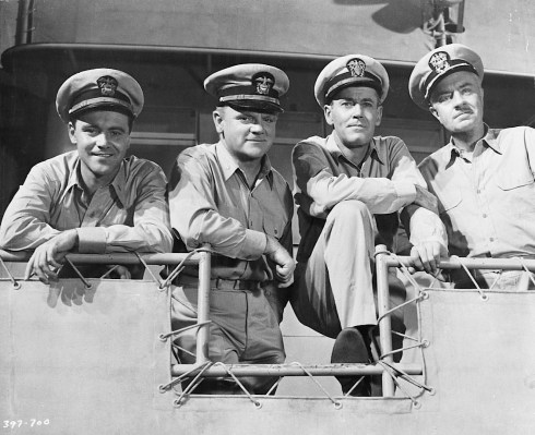 Jack Lemmon, James Cagney, Henry Fonda, and William Powell in Mister Roberts (1955). Each of theri characters here sports the tie-less service khaki uniform authorized by the U.S. Navy during World War II.