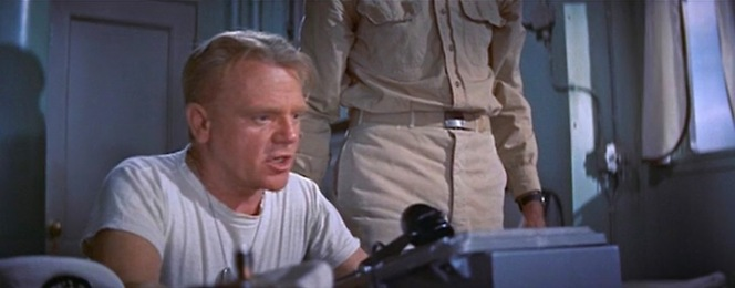 LCdr. Morton (James Cagney) has little patience for his popular cargo chief.
