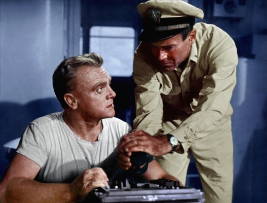 Publicity photo of James Cagney and Henry Fonda in Mister Roberts (1955)