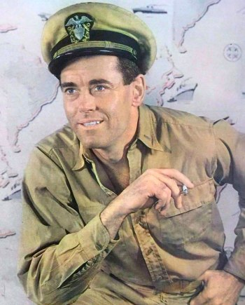 Henry Fonda in Doug Roberts' service khaki U.S. Navy uniform, dressed for the Broadway production of Mister Roberts prior to the 1955 film release.