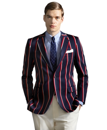 In 2013, Brooks Brothers introduced its wool-and-cotton Red, White, and Navy Stripe Regatta Blazer as part of The Great Gatsby Collection, itself inspired by 1920s nostalgia.