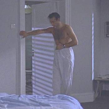 White cotton pajama pants in Dr. No (1962)... Bond's only armor when fighting off a deadly tarantula.