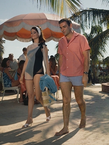 Sean Connery with Claudine Auger in the fourth James Bond film, Thunderball (1965), set in the Bahamas.