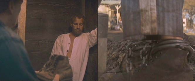 Left: Luke's boots in the hands of a guard when the laconic prisoners is forced to spend a night in the box. Right: Luke's boots in action as he's engaged in the Sisyphean task of shoveling dirt from one hole to another.