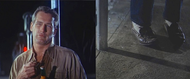 Luke wears a timeless casual outfit for a night spent cutting down parking meters. Though set in Florida, the scene was filmed in Lodi, California, where the meter-less poles remained upright for years after filming in this location wrapped.