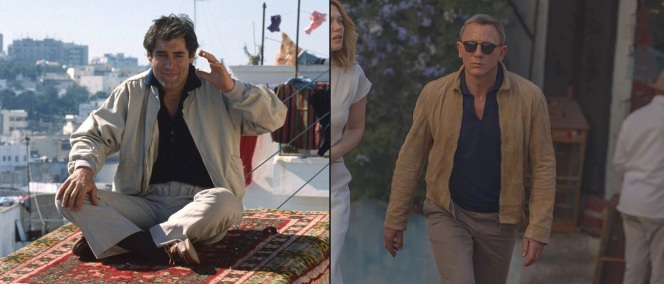 Production photos of Timothy Dalton in The Living Daylights (1987) and Daniel Craig in Spectre (2015). Both of James Bond's trips to Morocco in these films featured a navy polo shirt under a casual jacket and trousers in slightly contrasting shades of light sandy hues.