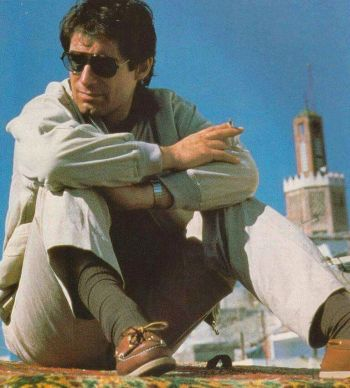 Timothy Dalton between takes in Tangier, November 1986.