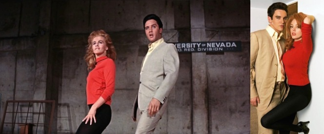 Left: Elvis and Ann-Margret in Viva Las Vegas (1964) Right: Jonathan Rhys-Meyers and Rose McGowan, dressed in their characters' Viva Las Vegas costumes.